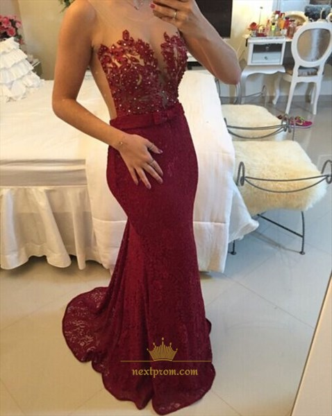 Illusion Red Sleeveless Scoop Floral Applique Lace Mermaid Prom Dress