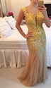 Cap Sleeve Beaded Floral Applique Illusion Back Mermaid Prom Dress