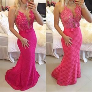 Illusion Fuchsia Sleeveless Beaded Floral Applique Lace Mermaid Dress