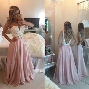 Sheer Sleeveless Beaded Bodice Sweetheart Neckline Chiffon Prom Dress