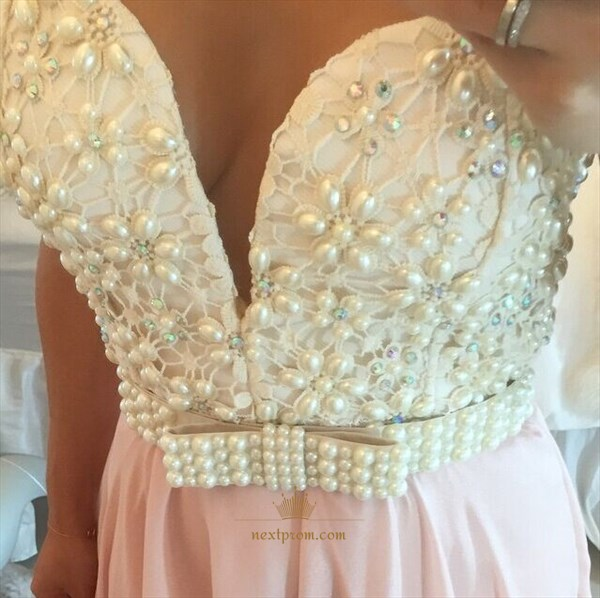 Sheer Sleeveless Beaded Bodice Sweetheart Neckline Chiffon Prom Dress