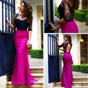Short Sleeve Lace Open Keyhole Back And Fuchsia Mermaid Prom Dress