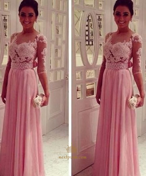 Pink Floral Applique Bodice Beaded Waist Sheer Back Bow Prom Dress