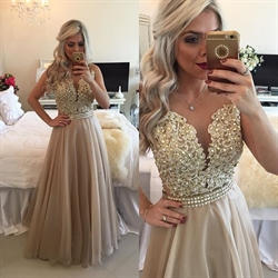 Sleeveless Champagne Beaded Applique Bodice Sheer Back Prom Dress