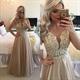 Sleeveless Champagne Beaded Applique Bodice Sheer Back Prom Dress