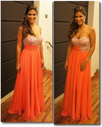 Orange Strapless Sequin corset Sweetheart Neckline Chiffon Prom Dress