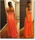 Orange Strapless Sequin corset Sweetheart Neckline Chiffon Prom Dress