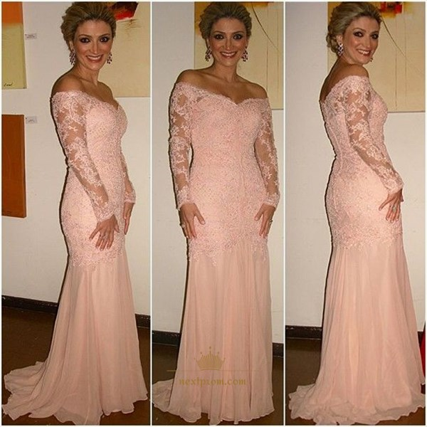 Pink Off The Shoulder Long Sleeve Lace Applique Chiffon Prom Dress