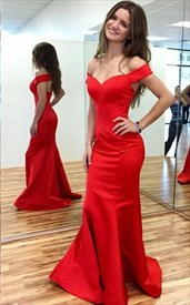 Red Off The Shoulder Sweetheart Neckline Open Back Mermaid Prom Dress