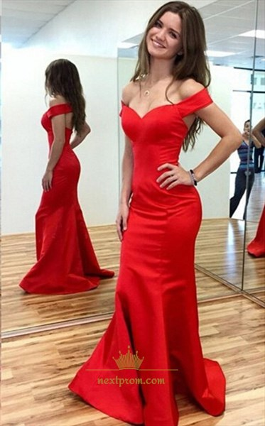 Red Off The Shoulder Sweetheart Neckline Open Back Mermaid Prom Dress