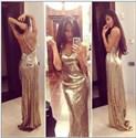 Champagne Sequin Spaghetti Strap V Neck X Back Long Prom Dress