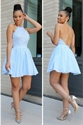 Blue Sleeveless Halter Neck Lace Bodice X Back Chiffon Cocktail Dress