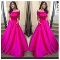Fuchsia Elegant Off The Shoulder Floor Length A Line Prom Dresses