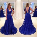 Royal Blue Sleeveless V-Neck Beaded Waist Backless Lace Prom Dress