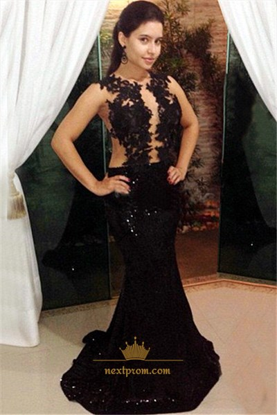 Sheer Black Sleeveless Lace Floral Applique Sequin Mermaid Prom Dress