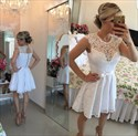 White Capped Sleeve Lace Neckline Applique Cocktail Dress With Ribbon