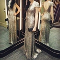 Elegant Champagne Sequin Short Sleeve Backless Floor Length Prom Dress
