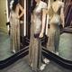 Elegant Champagne Sequin Short Sleeve Backless Floor Length Prom Dress