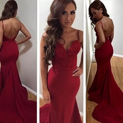 Burgundy Spaghetti Strap Sweetheart Backless Mermaid Evening Dress