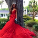 Red Strapless Deep V Neck Beaded Waist Long Prom Dress With Train