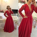 Burgundy Long Sleeve V Neck Lace Applique Beaded Bodice Prom Dress