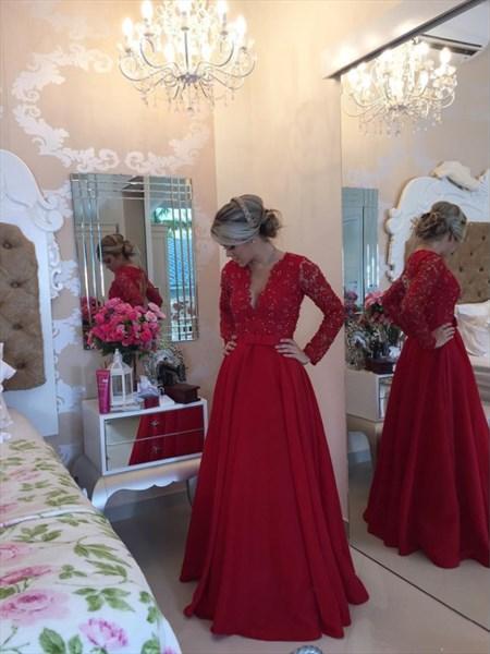 Burgundy Long Sleeve V Neck Lace Applique Beaded Bodice Prom Dress