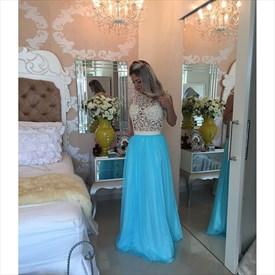 Cap Sleeve White Lace Beaded Bodice Sky Blue Chiffon Prom Dress