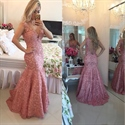 Pink Sleeveless Deep V Neck Floral Applique Lace Mermaid Prom Dress