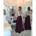 Burgundy Long Sleeve V Neck Beaded Bodice Sheer Back Long Prom Dress