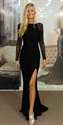 Black Lace Long Sleeve Backless Side Split Long Evening Prom Dress