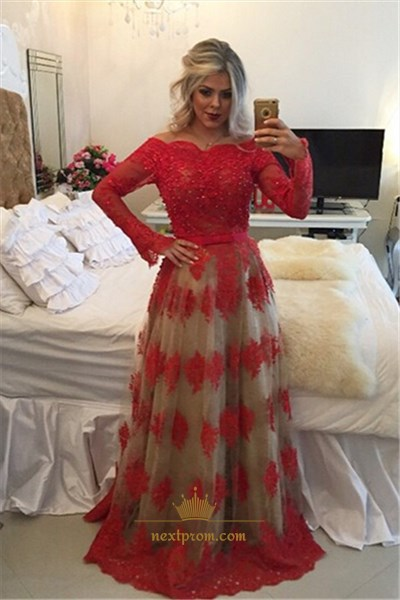 Red Off The Shoulder Long Sleeve Lace Overlay Backless Prom Dress
