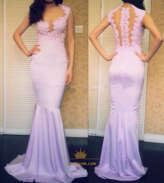 Lavender Illusion Sleeveless Lace Floral Applique Mermaid Prom Dress