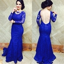 Elegant Royal Blue Long Sleeve Backless Mermaid Lace Evening Dress