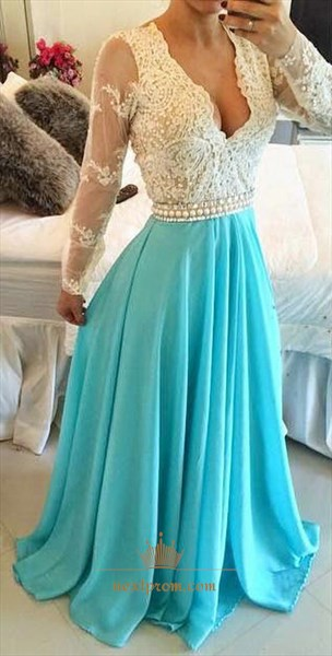 Illusion Sleeve Lace Bodice V Neck Backless Turquoise Chiffon Dress