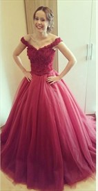 Burgundy Elegant Off The Shoulder Lace Bodice Puffy Long Prom Dress