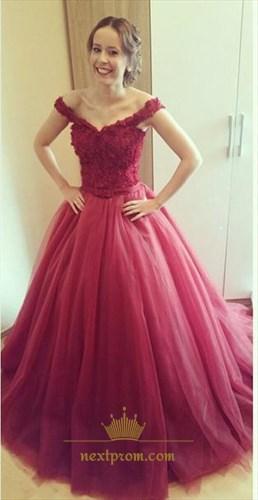 Burgundy Elegant Off The Shoulder Lace Bodice Puffy Long Prom Dress