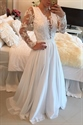 White Illusion Lace Applique Beaded Bodice Sheer Back Long Prom Dress