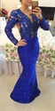 Royal Blue Long Sleeve V Neck Beaded Bodice Sheer Back Lace Prom Dress