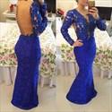Royal Blue Long Sleeve V Neck Beaded Bodice Sheer Back Lace Prom Dress