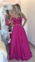 Fuchsia Sheer Lace Applique Bodice Long Prom Dress With Ribbon Bow