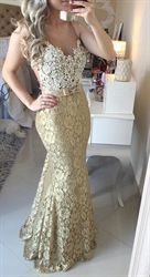Champagne Illusion Sleeveless Beaded Bodice Lace Mermaid Prom Dress