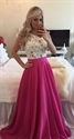 Sleeveless White Lace Beaded Bodice Fuchsia Floor Length Prom Dress