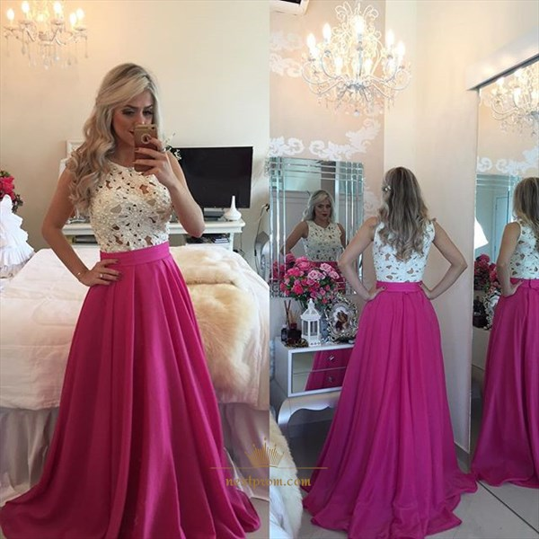 Sleeveless White Lace Beaded Bodice Fuchsia Floor Length Prom Dress