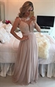 Champagne Sleeveless Illusion Neck Beaded Bodice Chiffon Prom Dress