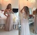 Champagne Sleeveless Illusion Neck Beaded Bodice Chiffon Prom Dress