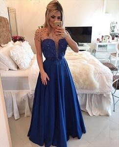 Royal Blue Illusion Short Sleeve Beaded Bodice Floor Length Prom Dress