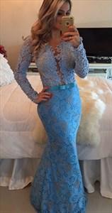 Blue Long Sleeve Sheer Back Lace Embellished Mermaid Evening Dress