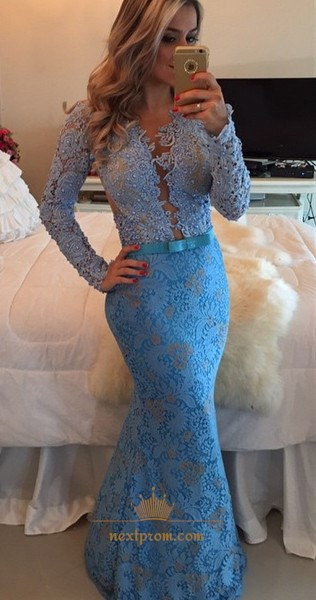 Blue Long Sleeve Sheer Back Lace Embellished Mermaid Evening Dress