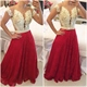 Illusion Short Sleeve V Neck Beaded Bodice Red Lace A Line Prom Dress