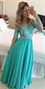 Turquoise Long Sleeve Beaded Waist Backless Chiffon Evening Dress